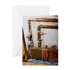 Leaking water pipes Greeting Card