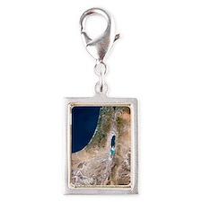 Israel, satellite image Silver Portrait Charm