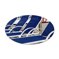 Deck Chairs Oval Car Magnet