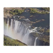 Zambezi River flowing over Victoria  Throw Blanket
