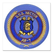 "uss hector patch transpa Square Car Magnet 3"" x 3"""