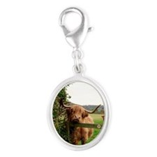 Highland cow Silver Oval Charm