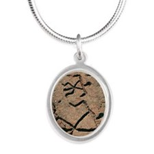 Hawaiian petroglyph Silver Oval Necklace