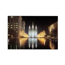 Mormon Temple at night in Salt La Rectangle Magnet