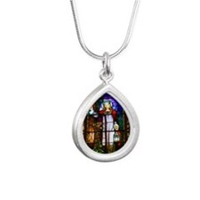 Stained glass window of  Silver Teardrop Necklace