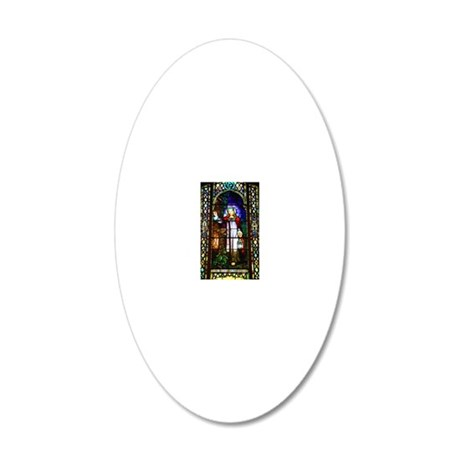 Stained glass window of Chri 20x12 Oval Wall Decal