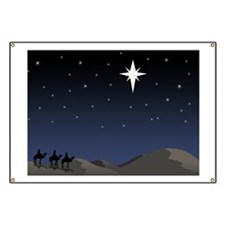 Three wisemen following star Banner