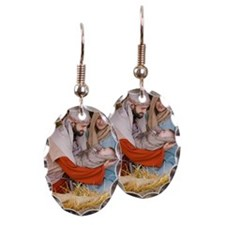 The birth of Jesus Earring Oval Charm