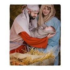 The birth of Jesus Throw Blanket