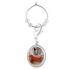 The birth of Jesus Oval Wine Charm