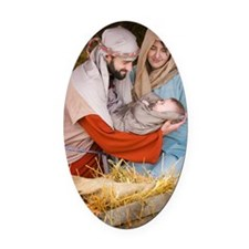 The birth of Jesus Oval Car Magnet