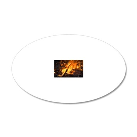 Flames from a bonfire 20x12 Oval Wall Decal