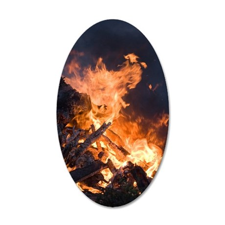 Flames from a bonfire 35x21 Oval Wall Decal