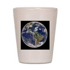 Earth with 5 hurricanes, satellite imag Shot Glass