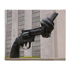 Gun sculpture at United Nations New  Throw Blanket