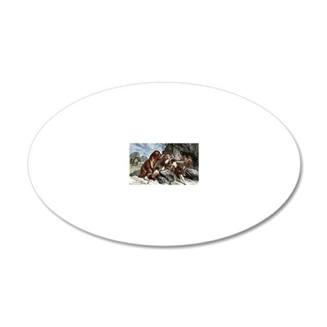 Early humans using weapons 20x12 Oval Wall Decal