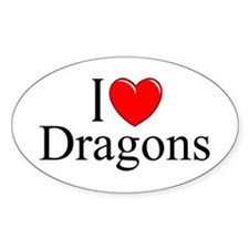 """""""I Love (Heart) Dragons"""" Oval Decal"""