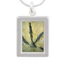 Dinosaur footprint Silver Portrait Necklace