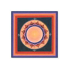 "Orange and Purple Lotus Man Square Sticker 3"" x 3"""