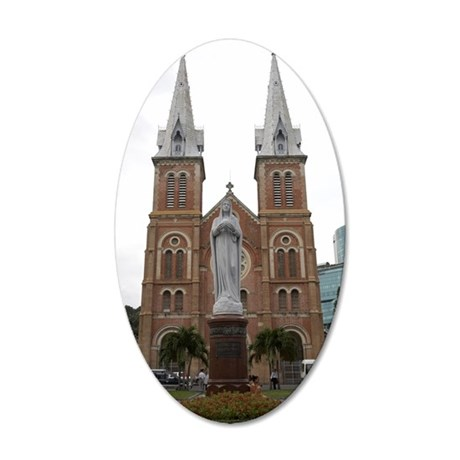 Statue in Front of Cathedral 35x21 Oval Wall Decal
