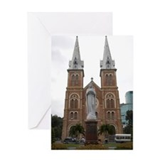 Statue in Front of Cathedral, Ho Chi Greeting Card