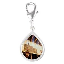 Ancient Lantern Hanging In  Silver Teardrop Charm
