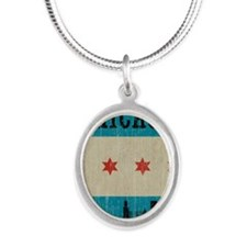 VintageChicagoSkyline Silver Oval Necklace