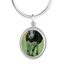 Cow Silver Oval Necklace