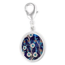 Iznik Ceramic tiles from Turkey Silver Oval Charm