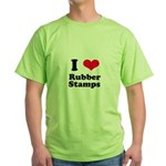 I Love Rubber Stamps Green T-Shirt