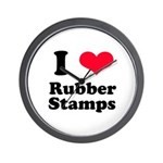 I Love Rubber Stamps Wall Clock