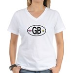 Great Britian (GB) Euro Oval Women's V-Neck T-Shir