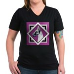 Harlequin Great Dane design Women's V-Neck Dark T-