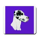 Down Ear Harlequin Great Dane Mousepad