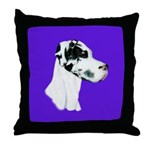 Down Ear Harlequin Great Dane Throw Pillow