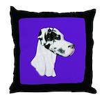 Down Ear Harlequin Great Dane Throw Pillow