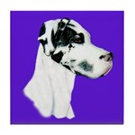 Down Ear Harlequin Great Dane Tile Coaster