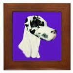 Down Ear Harlequin Great Dane Framed Tile