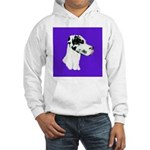 Down Ear Harlequin Great Dane Hooded Sweatshirt