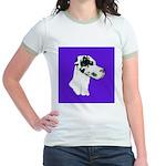 Down Ear Harlequin Great Dane Jr. Ringer T-Shirt