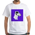 Down Ear Harlequin Great Dane White T-Shirt