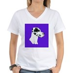 Down Ear Harlequin Great Dane Women's V-Neck T-Shi