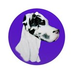 Down Ear Harlequin Great Dane Ornament (Round)