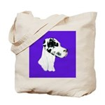 Down Ear Harlequin Great Dane Tote Bag