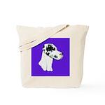 Down Ear Harlequin Great Dane Tote Bag