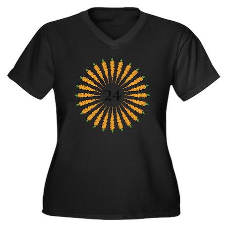 24 Carrots Women's Plus Size Dark V-Neck T-Shirt