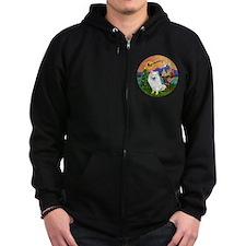 American Eskimo Dog Zip Hoodie