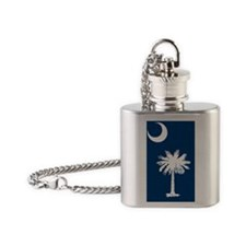 South Carolina State Palmetto Flag Flask Necklace