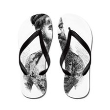 Bearded lady, 19th century Flip Flops