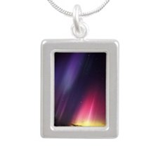 Aurora borealis Silver Portrait Necklace